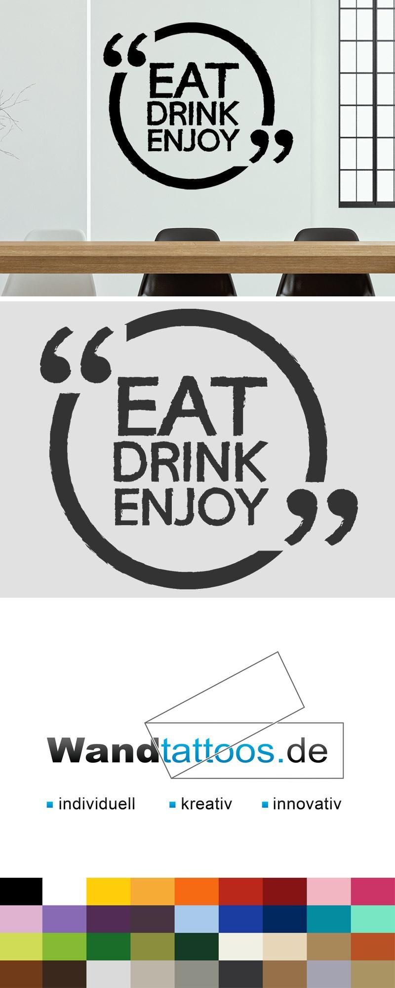 Wandtattoo Küche Retro Wandtattoo Eat Drink Enjoy In Retro Schrift In 2019 Küche