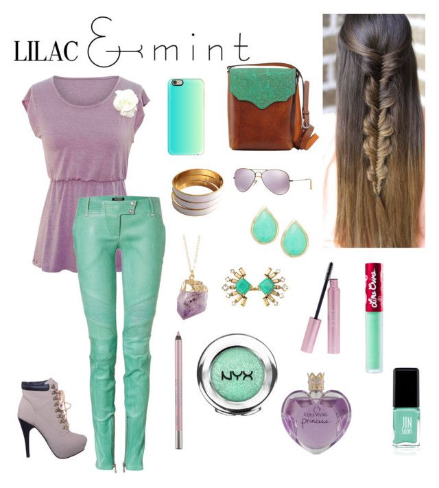 """Lilac and Mint"" by danae-zzz ❤ liked on Polyvore featuring tuleste market, Most Wanted, Balmain, Ray-Ban, Casetify, Karen Kane, Stella & Dot, Urban Decay, NYX and Mally"