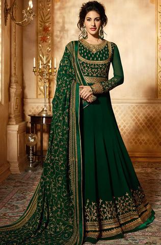 1d4f8944b6 Dark Green & Gold Designer Embroidered Georgette Party Wear Anarkali ...