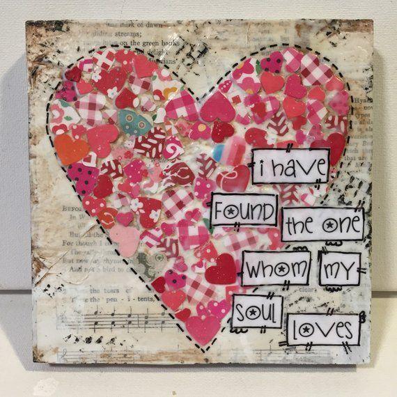 Heart Sign Mixed Media Heart Sweetheart gift whom my soul loves Heart Sign Mixed Media Heart Sweetheart gift whom my soul loves