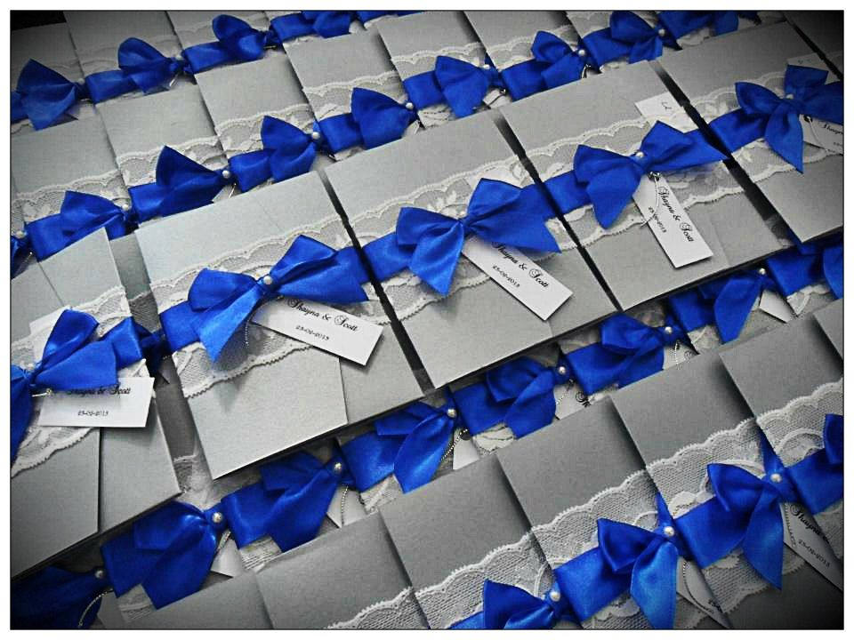 Vintage Lace Pocketfold Wedding Invitations. Royal Blue, Silver And White..  $6.50,
