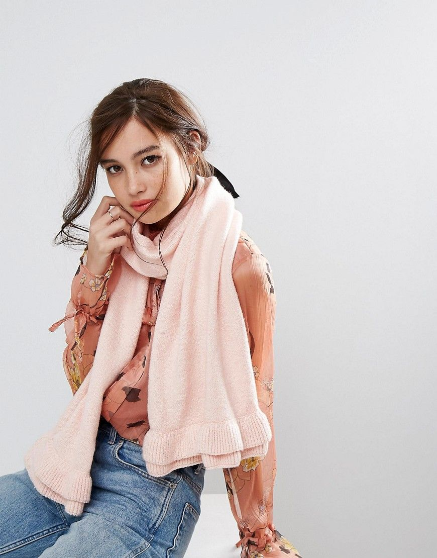 b9ecf567ceb5fc Willow and Paige Oversized Scarf with Frill Detail - Pink