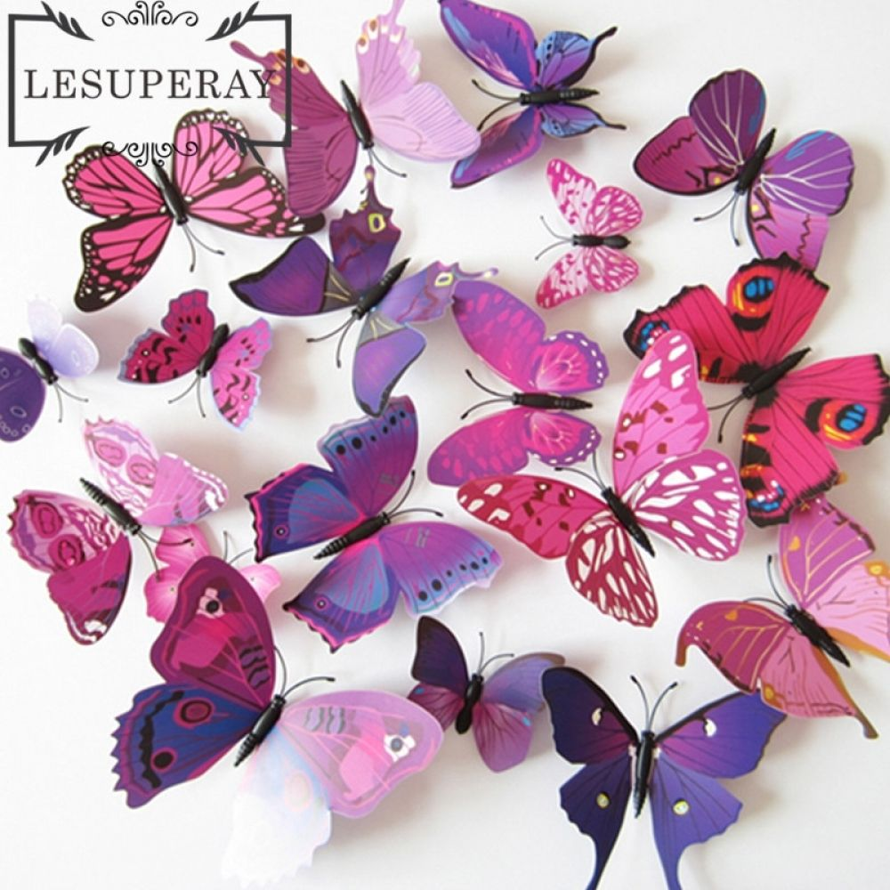 1 Set 12 Pcs Free Shipping A Beautiful Art Design 3d Butterfly
