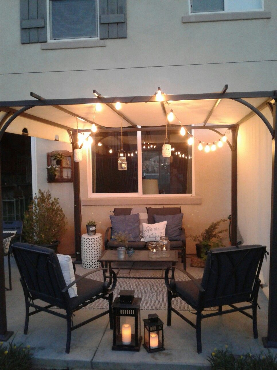Threshold Pergola♡ / back porch/patio/ edison string lights. Lovely outdoors./home♡sweet♡home