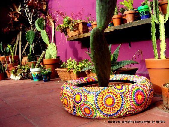 Resultado de imagen para ideas para el jardin con for Ideas para decorar el jardin con llantas