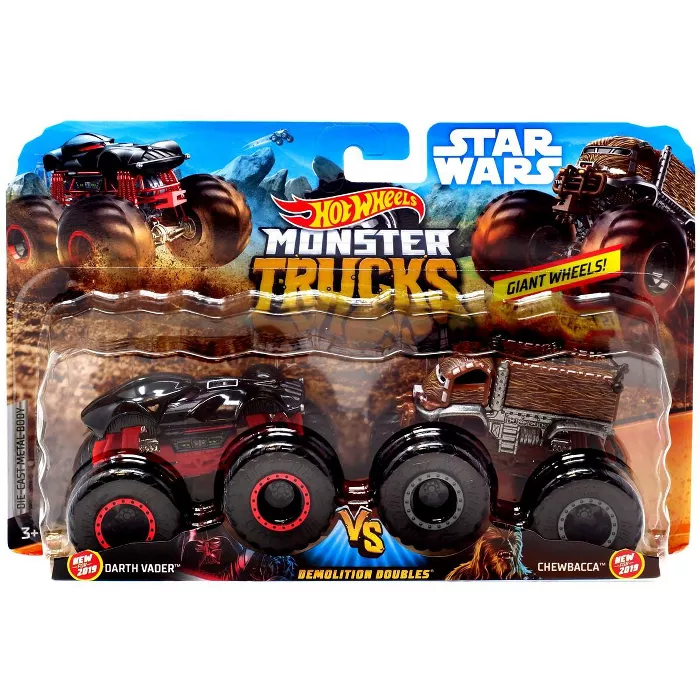 Hot Wheels Monster Trucks Demolition Doubles Darth Vader And Chewbacca Die Cast Car 2 Pack Target Monster Trucks Monster Hot Wheels