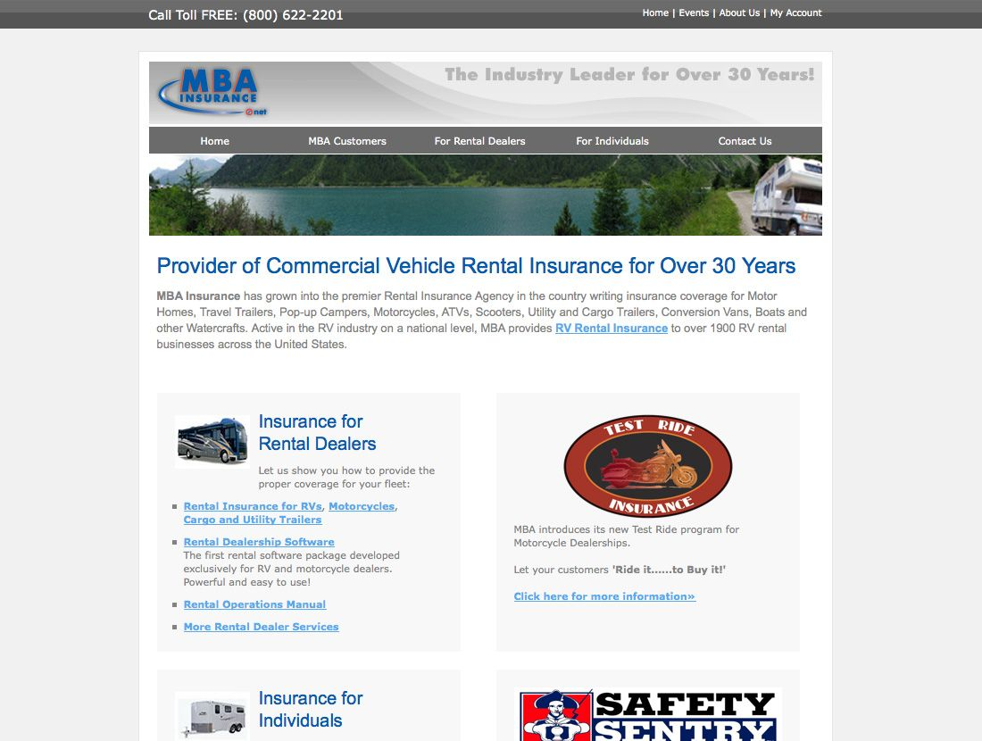 Mba Insurance Website Design Before Vuria Creative Technology