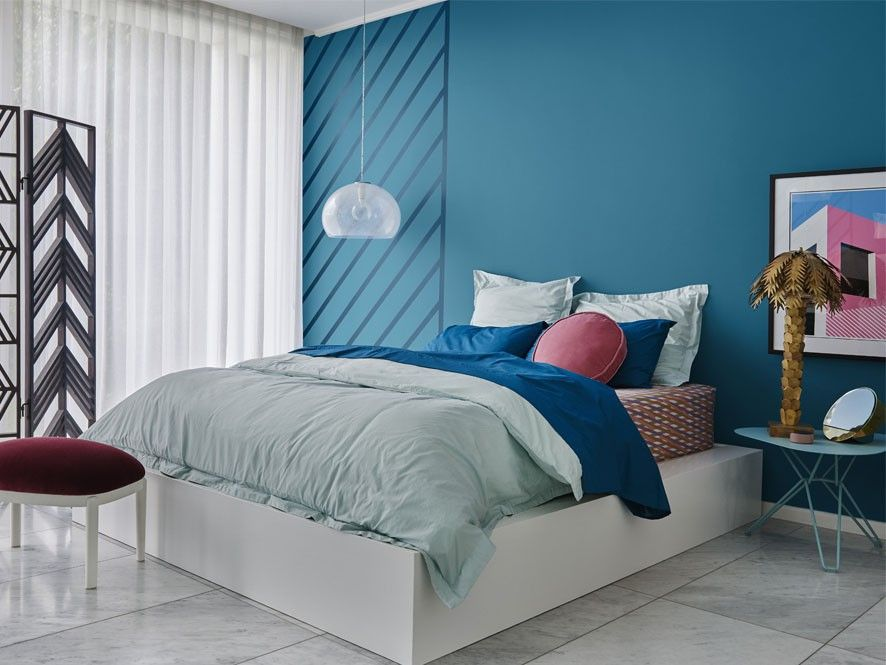 Captivating Dulux 2018 Colour Forecast Escapade Bedroom With Blue Feature Wall   Inspirations  Paint: Mobile