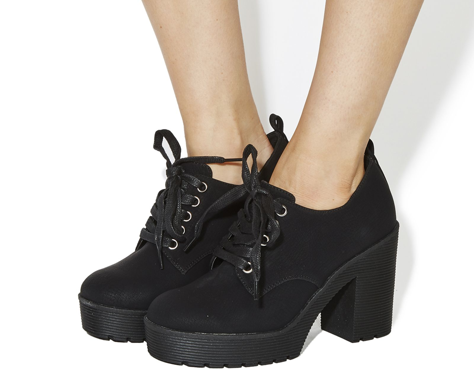 Black Office Quibble Lace Up Chunky Heels From Co Uk