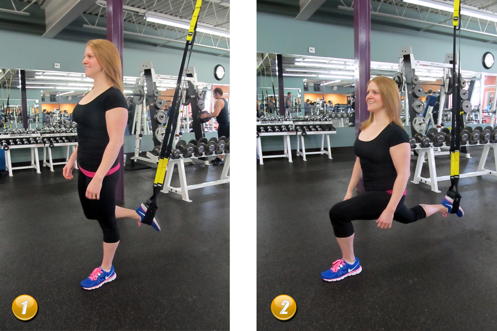 Suspended Lunge Works Your Quads Glutes And Hamstrings Adjust Handles To 6 8 Inches From Ground Intertwine Handles Together Take Lower Body Glutes Lunges