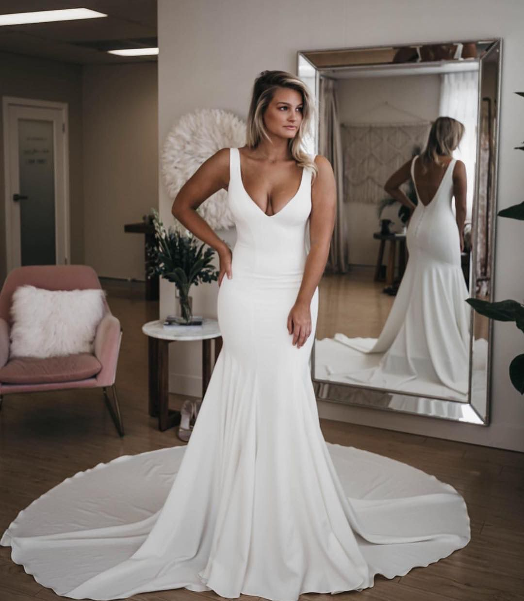 Elegant Ivory V Neck Mermaid Soft Satin Wedding Dress Evening Gown With Long Train From Queenparty Online Wedding Dress Evening Dresses For Weddings Beach Wedding Dresses Backless [ 1239 x 1080 Pixel ]