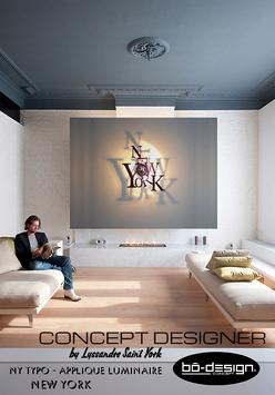 LUMINAIRE DESIGN - APPLIQUE MURALE - NEW YORK TYPO NOIR 62x60 cm