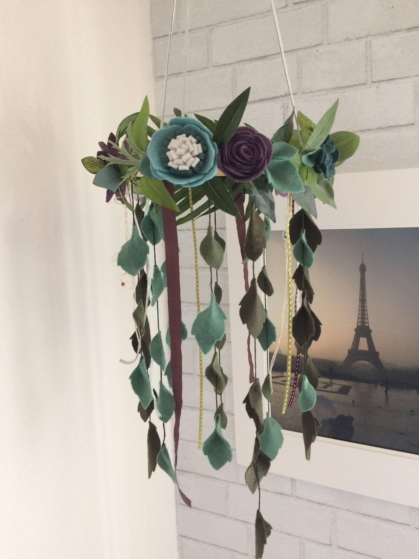 Enchanting Floating Tropical Wool Felt Flowerbloom Baby Girl Mobile Chandelier