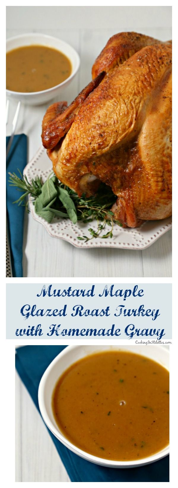 This Mustard Maple Glazed Roast Turkey with Homemade Gravy from CookingInStilettos.com is a flavorful twist on a classic roast turkey recipe.  Golden roast turkey is glazed with a sweet and spicy mustard maple glaze that is packed with flavor and perfect for your holiday menu.