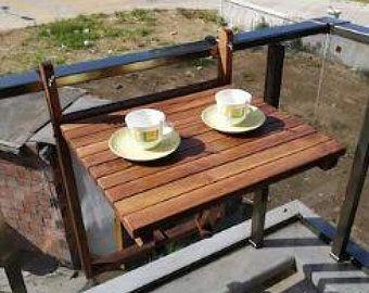 Balcony Table Wooden Folding Table   Etsy