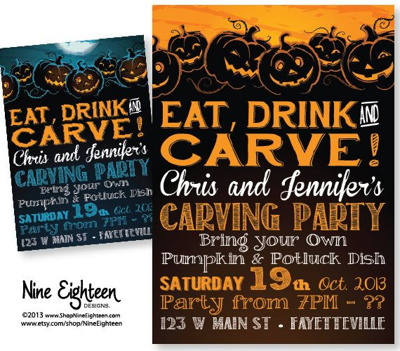 Pumpkin Carving Halloween Party Invitation, Eat Drink Carve - movie invitation template free