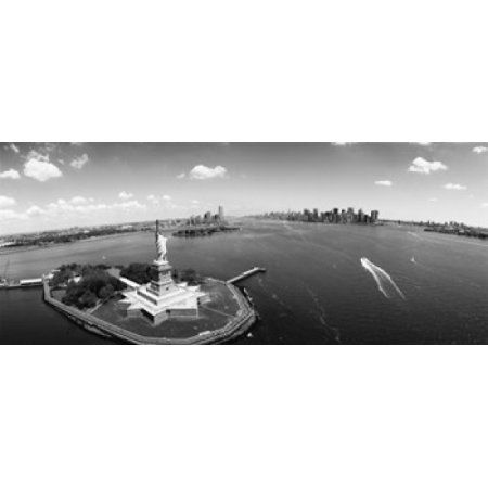 Aerial view of a statue Statue of Liberty New York City New York State USA Canvas Art - Panoramic Images (30 x 13)