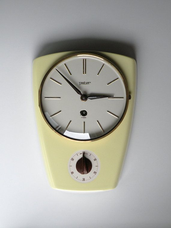 Beautiful Wall Clock In Ceramics. Product Of The   Made In Germany. Manual  Winding With Kitchen Timer To 60 Minutes.