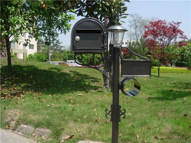 USA BRIEFKASTEN MIT SOLAR LAMPE KOMPLETT-SET - ANTIK
