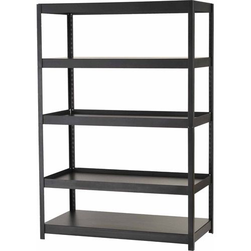 Edsal Muscle Rack 5-Shelf Steel Shelving Unit, Black, MR482472BLB