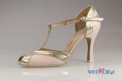 Zlote Buty Slubne Sensatiano Z Paskiem Wedding Shoes Badgley Mischka Shoes Wedding Wedding Shoes Lace