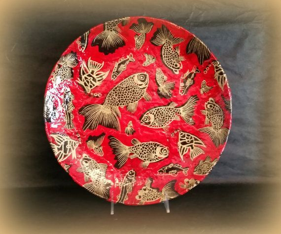 Decorative Plate in Red Gold and Black with Koi by AltaMacStudio & Decorative Plate in Red Gold and Black with Koi by AltaMacStudio ...