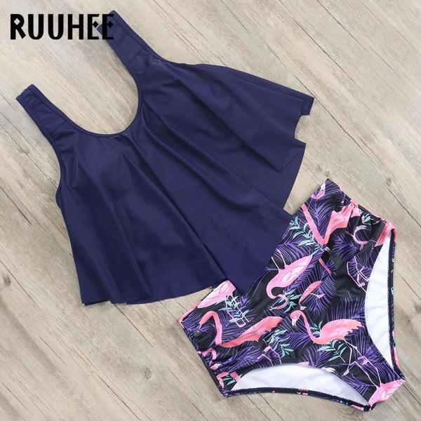f473c01b05 RUUHEE Flamingo Bikini Swimsuit Swimwear Women High Waist Tankini Set Push  Up 2019 Plus Size B3160 #Discounts #BestPrice