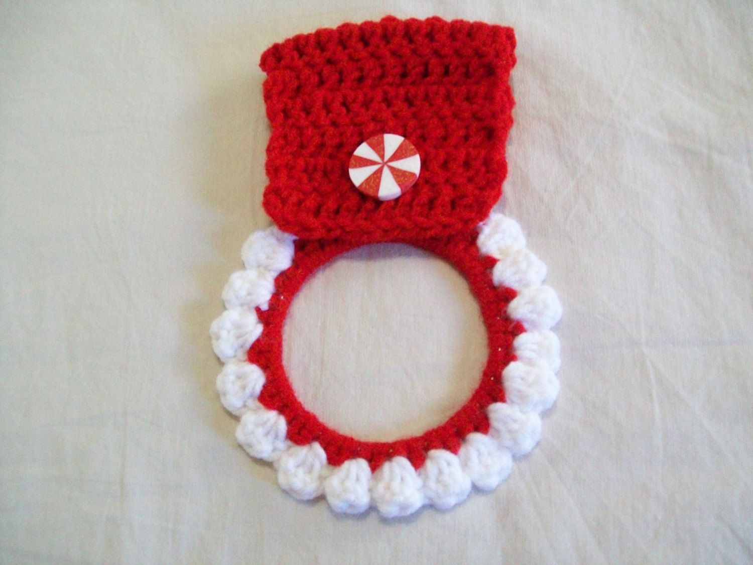 Winter Themed, Handmade, Red, Crocheted, Button-up, Kitchen Towel ...