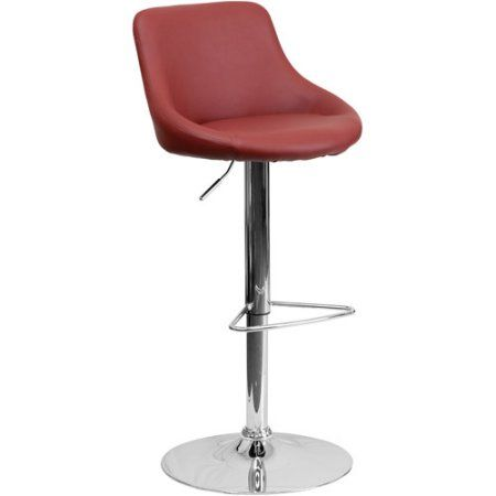 Contemporary Vinyl Bucket Seat Adjustable Height Barstool with Chrome Base, Set of 2, Multiple Colors, Red