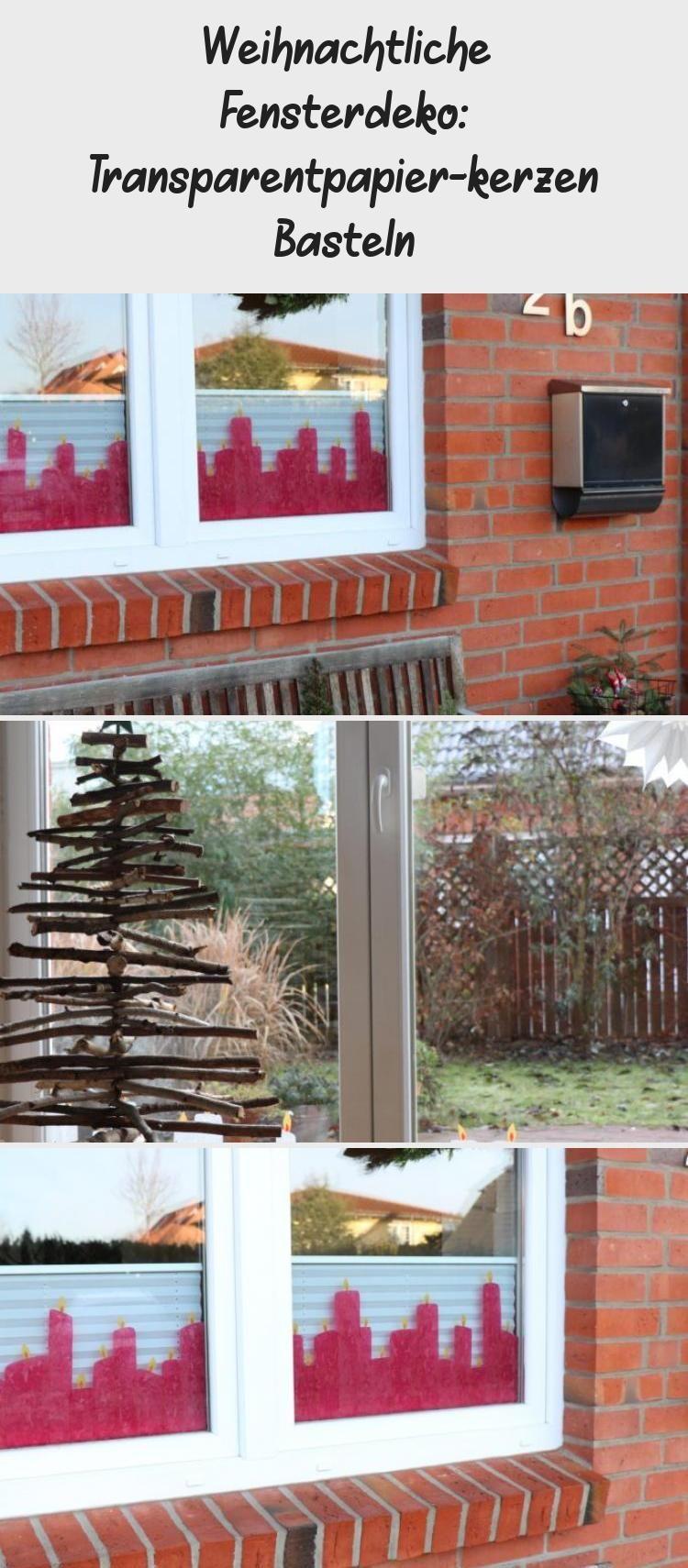 Weihnachtliche Fensterdeko: Transparentpapier-Kerzen basteln #Girlandenbasteln #…