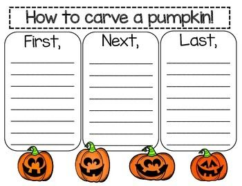 How to Carve a Pumpkin Comes with several versions!  Fall writing Pumpkin writing October writing