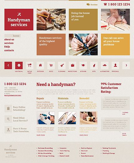 Template 46541 - Handyman Services Responsive Website Template | Web ...