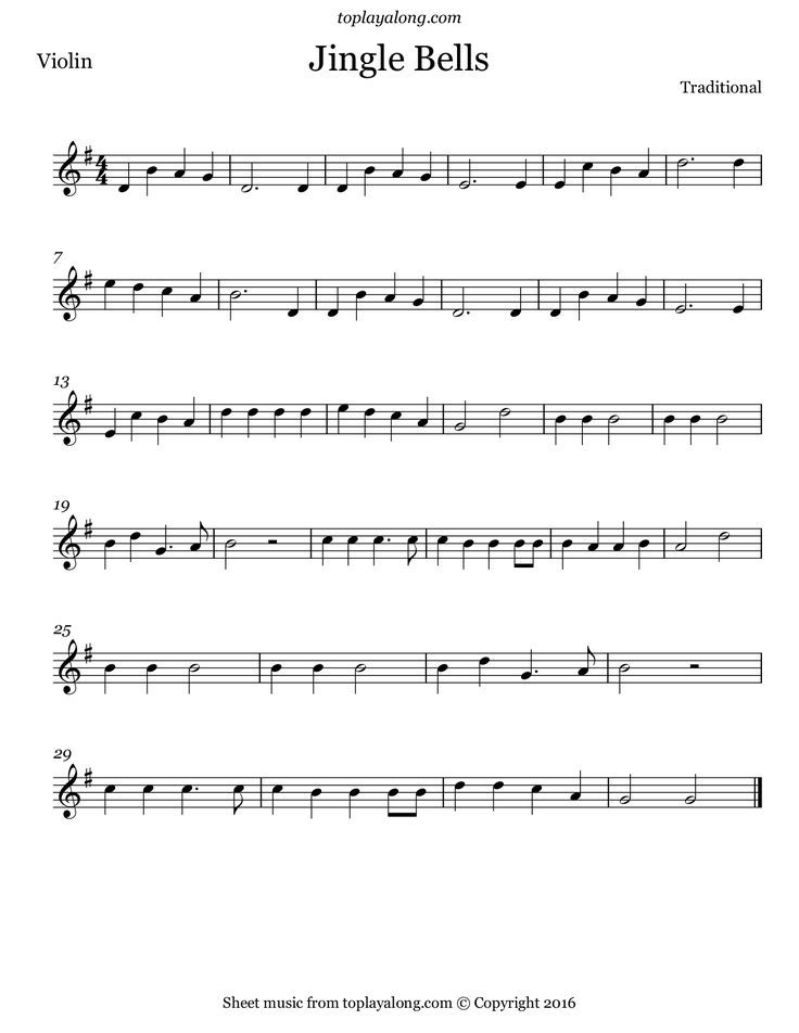 Violin silver bells violin sheet music : Jingle Bells. Free sheet music for violin. Visit toplayalong.com ...