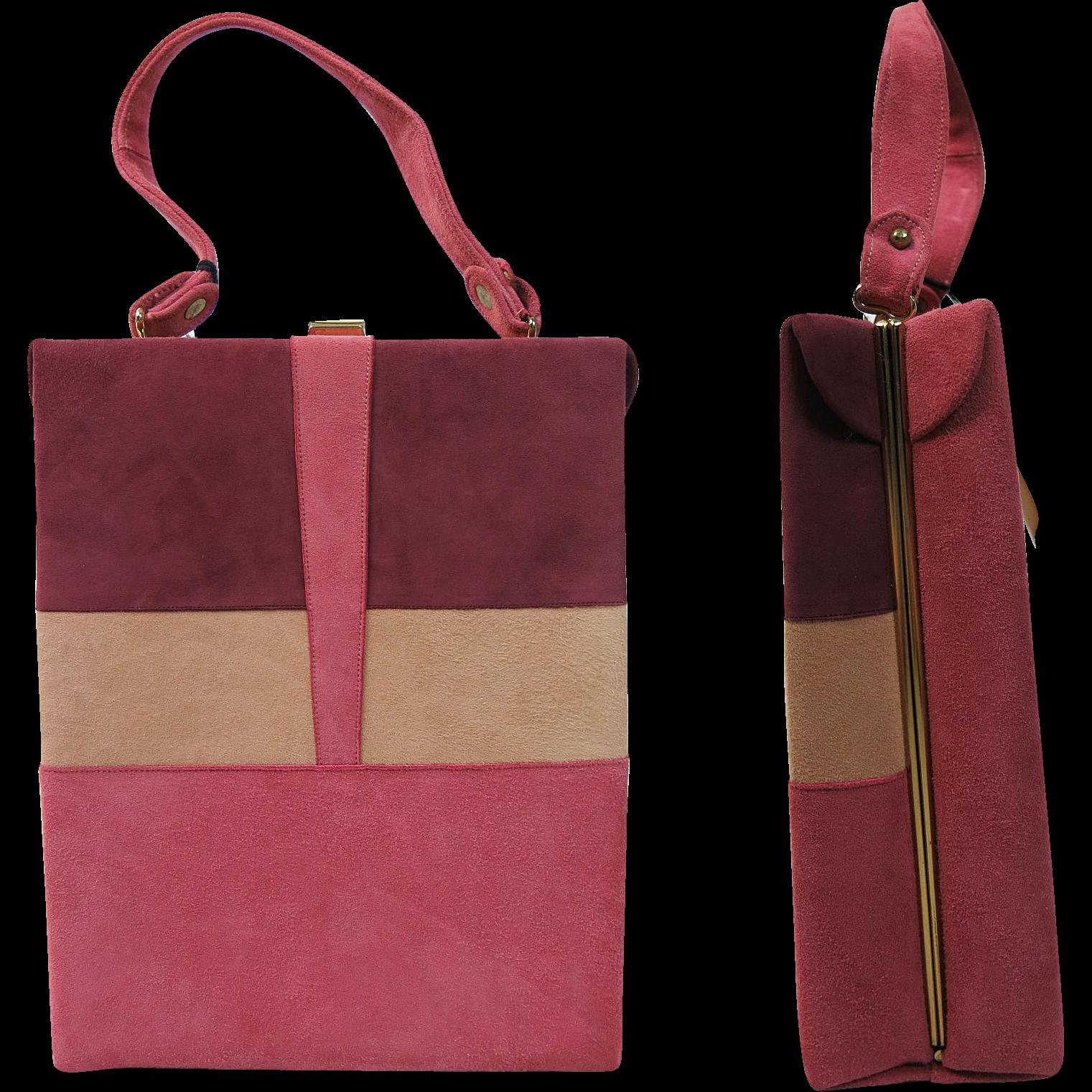 Vintage 1960's Unused Stylecraft Miami Mod Suede Handbag With Original Hangtags