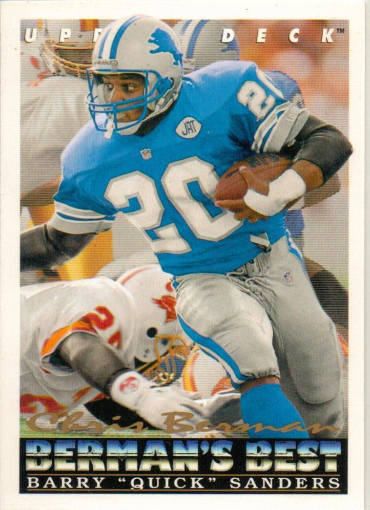 Legend Barry Sanders Detroit Lions 1993 Upper Deck Berman S Best Card Ebay Sanders Detroit Detroit Lions Detroit Lions Football