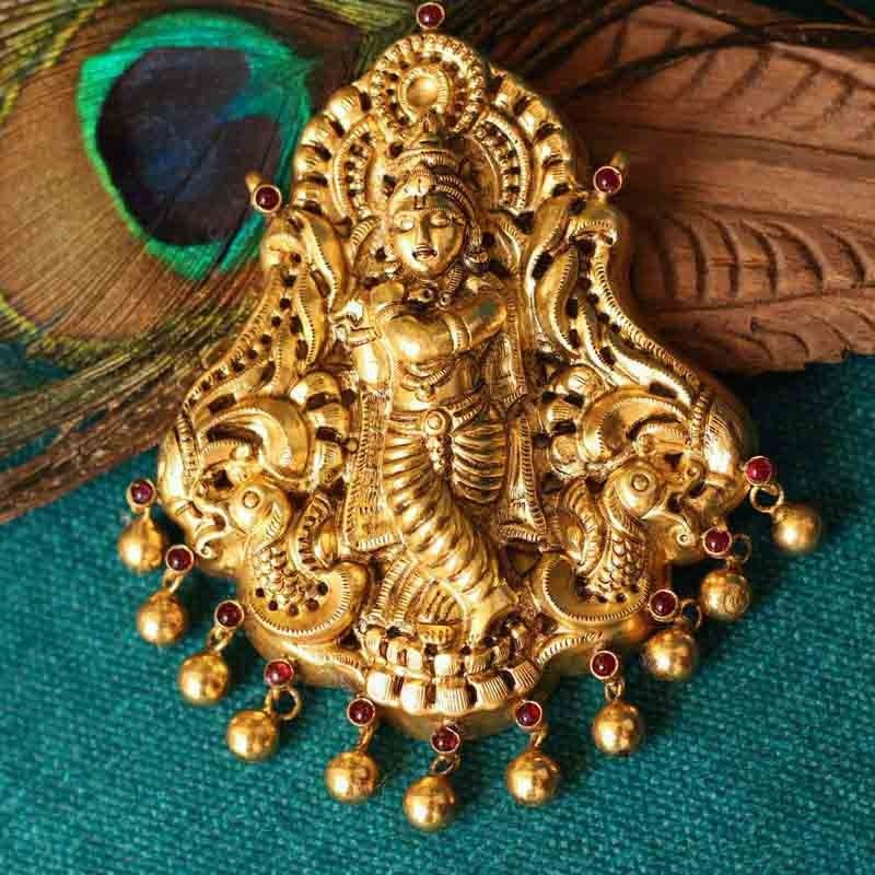 Lord krishna temple jewellery pendant temple jewellery lord krishna temple jewellery pendant mozeypictures Image collections