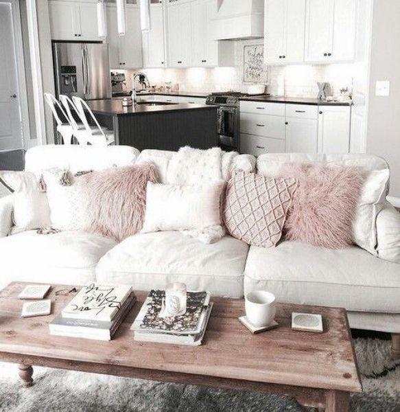 Como Decorar Un Sofa Blanco Con Cojines.Sofas Con Cojines Rosa Palo En 2019 Diseno De Interiores