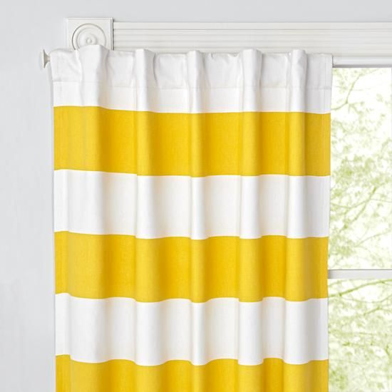 96 Yellow And White Striped Curtain The Land Of Nod Blackout