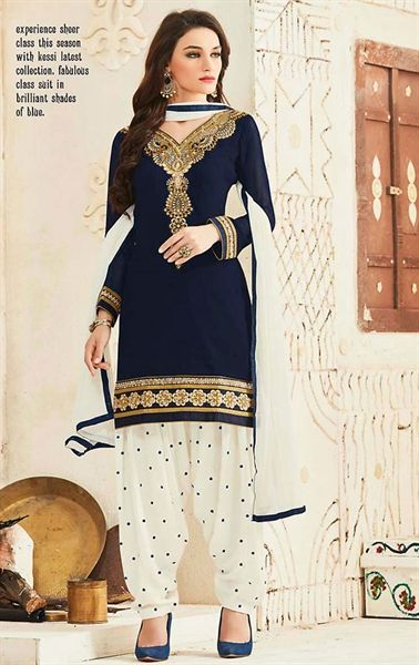 Picture of Iconic Navy Blue Patiala Salwar Suit                                                                                                                                                                                 More