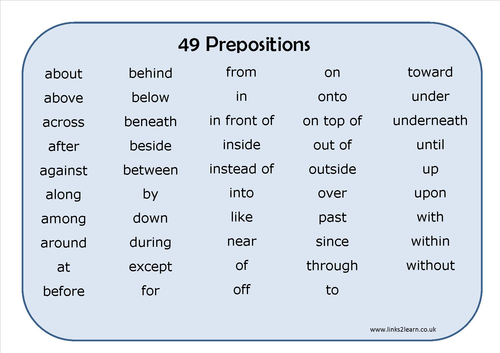 49 Prepositions Learning Mat Writing Learning Mats