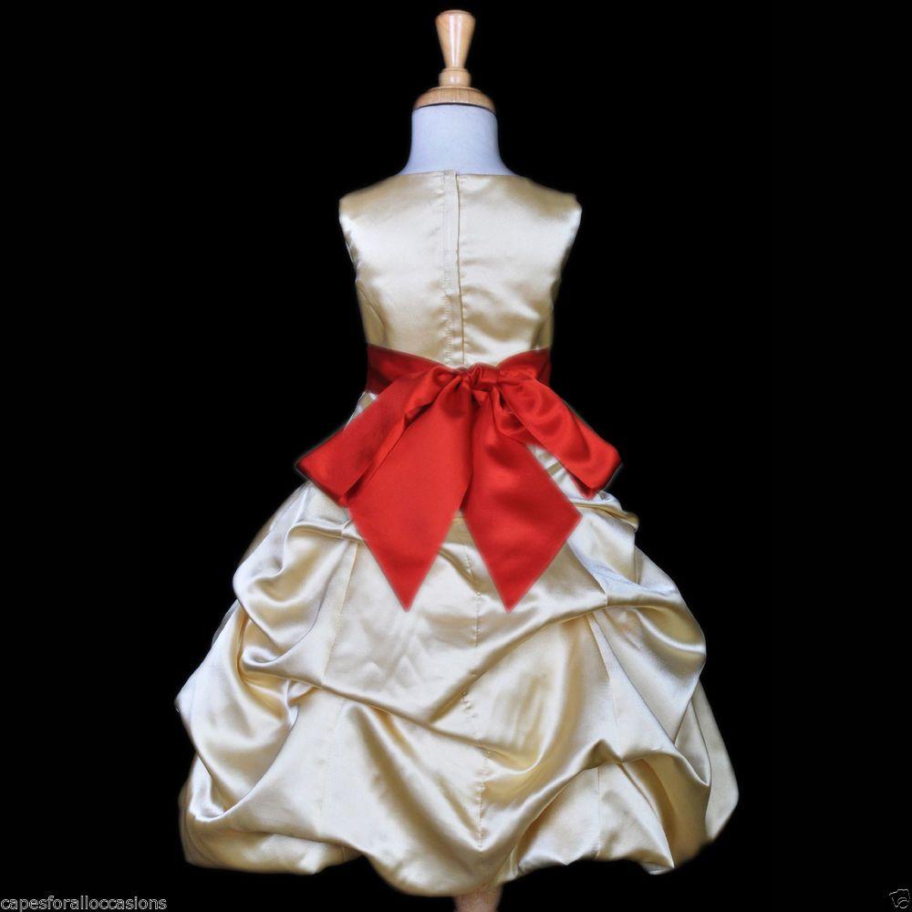 Gold Yellow Bridesmaid Pick Up Quinceanera Flower Girl Dress 2 4 6 8 10 12 14 16 Gold Flower Girl Dresses Wedding Flower Girl Dresses Flower Girl Dresses