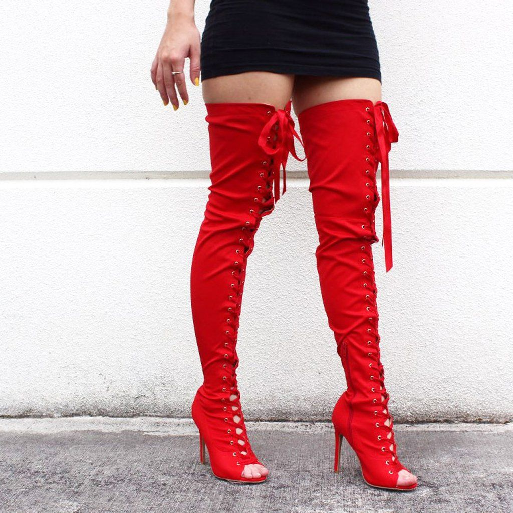b9619ccc10a7 Women's Red Hot Lycra Front Tie Up Peep Toe Thigh High Over The Knee Boots