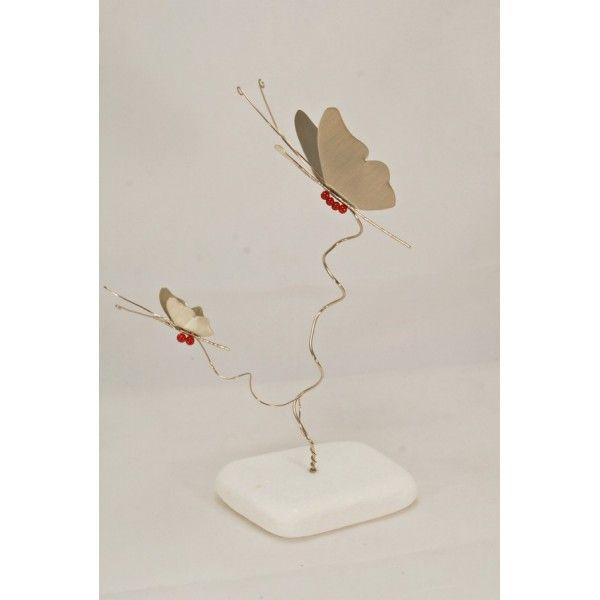 """Χειροποίητο διακοσμητικό επιτραπέζιο """"Πεταλούδα διπλή"""" Νεάργυρος 13x23 εκ."""