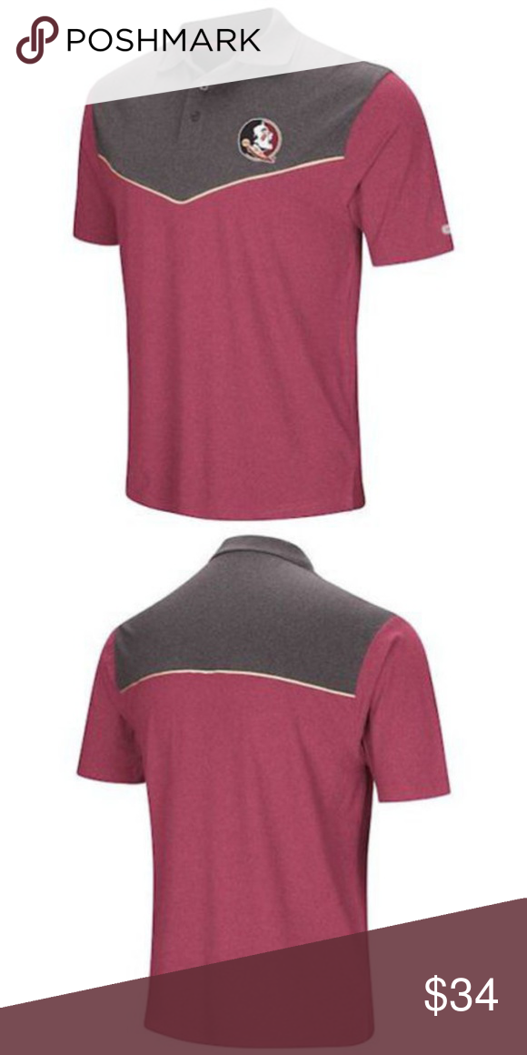 f78b4399 FSU Florida State Grey Dry Fit Golf Polo Shirt Florida State Seminoles  Walter polo from Colosseum