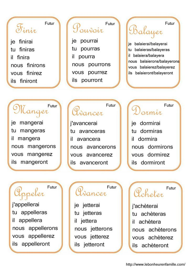 Cartes Verbes Orange Futur Finir A Acheter Learn French Basic French Words French Language