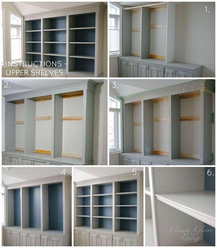 Diy Built In Office Cabinet Upper Shelves Cly Glam Living
