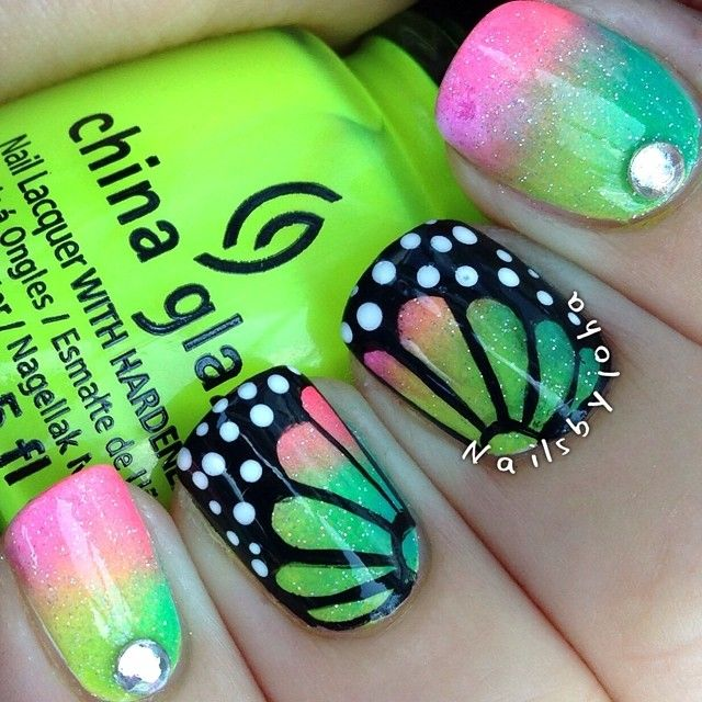 Gradient butterflies! Instagram media by nailsbyjoha #nail #nails ...