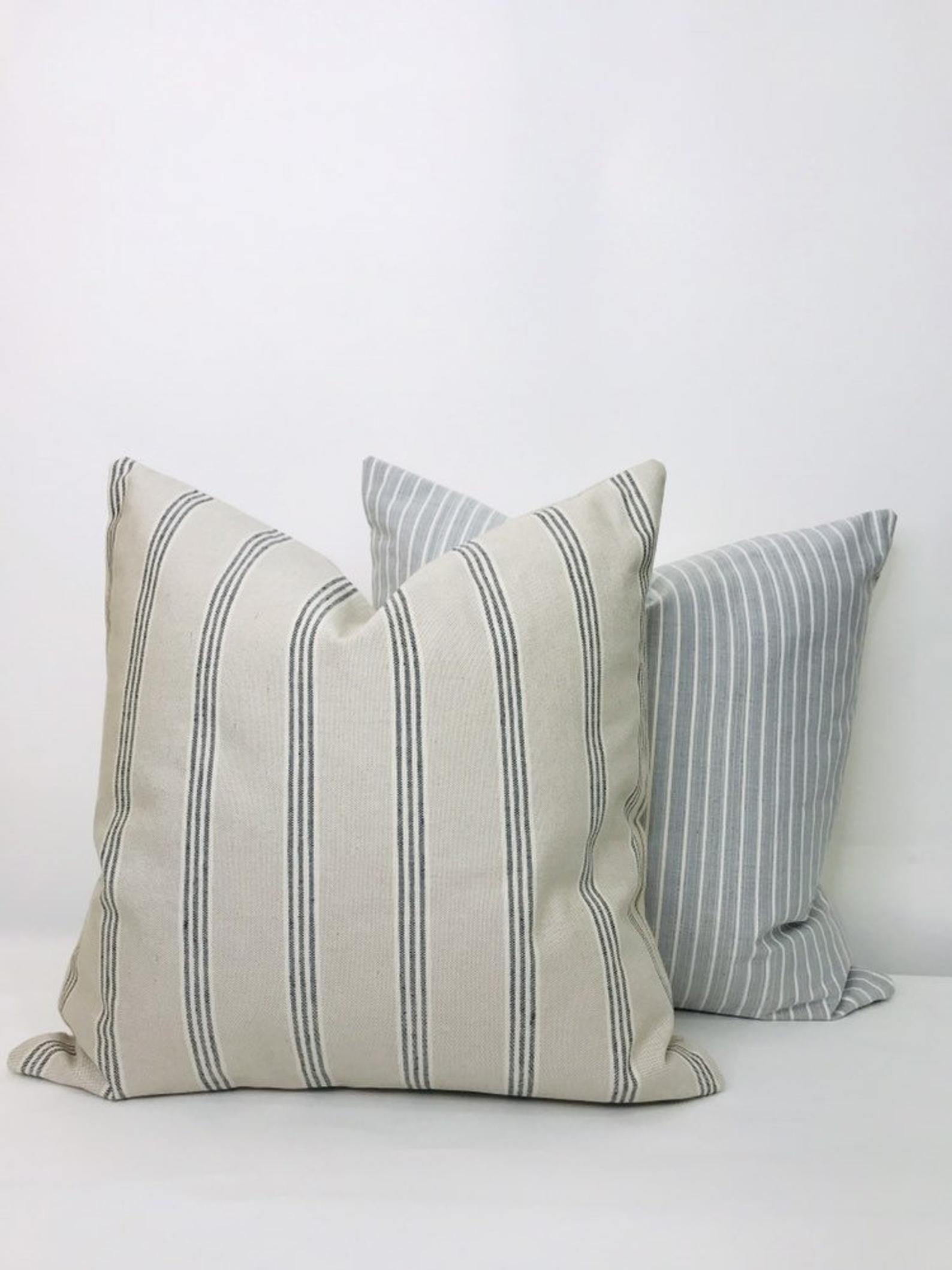 Farmhouse ticking stripe pillow cover beige pillow cover