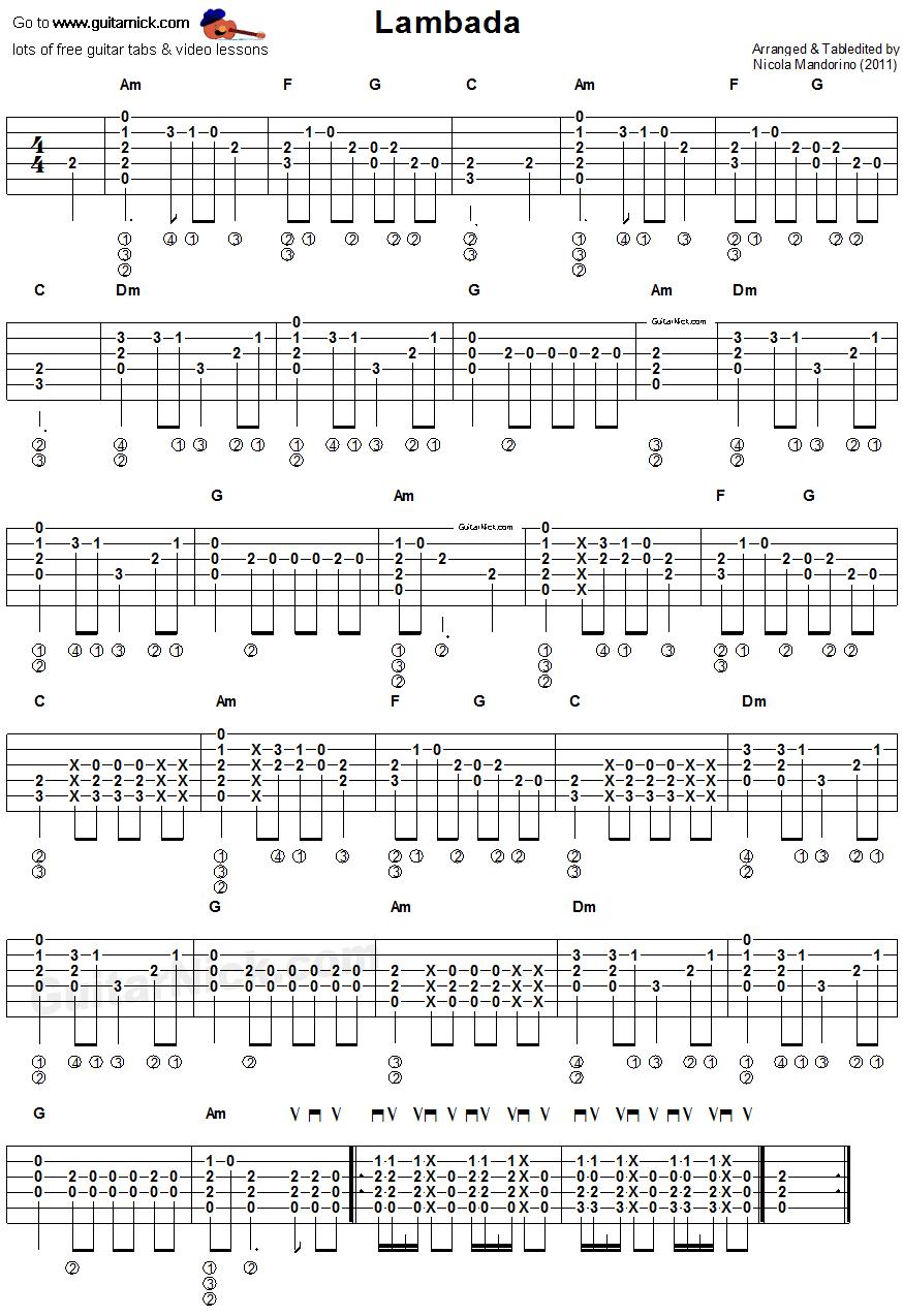 Lambada Easy Acoustic Guitar Tab Songs Pinterest Acoustic