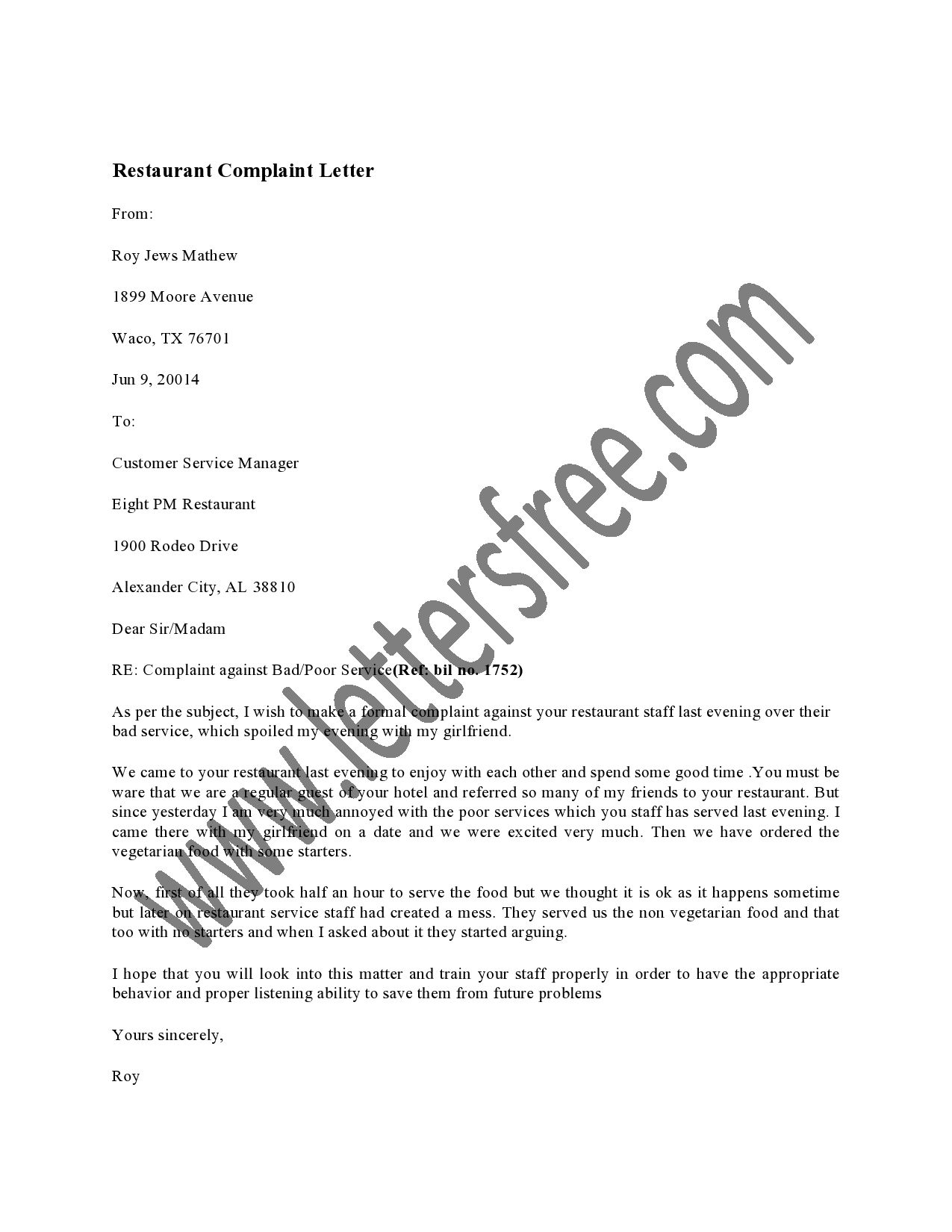 Restaurant Complaint Letter Usually Sent Frustrated Customer The